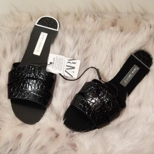 Zara Black Leather Animal Print Sandals